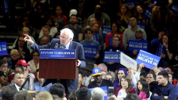 Bernie Sanders addressed supporters at Marist College in Poughkeepsie, N.Y. April 12, 2016.