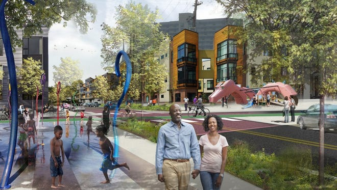 The city is seeking proposals for how to spend $1.37 million on immediate improvements to the Russell area west of 9th Street.  A rendering depicts a possible scene in Russell after a long-term revitalization project.