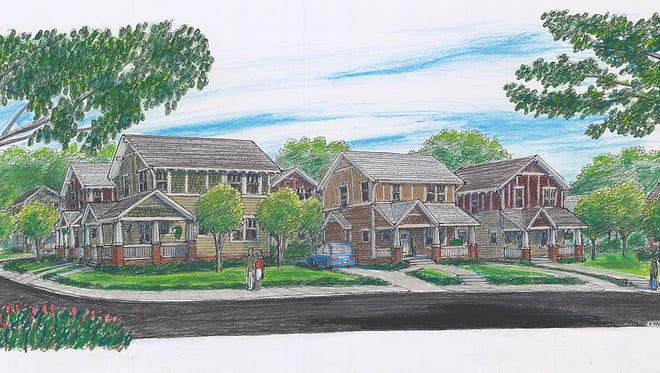 Artist's rendering of an affordable housing project along the Doodle Trail in Easley.