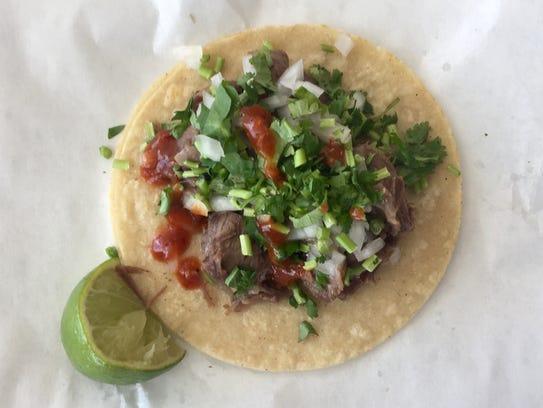 A lengua taco at Carmelita's Taqueria features beef