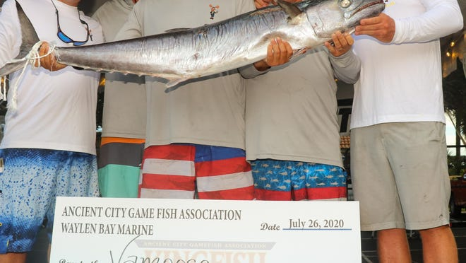 Vamoose won the 2020 Ancient City Game Fish Association Kingfish Challenge after reeling in a two-fish aggregate of 71.98 pounds. The five-man crew -- Zach Crabtree, Ross Crabtree, Chase Crabtree, Chip Crabtree and Thomas Boney -- traversed different waters than those that helped them win the Greater Jacksonville Kingfish Tournament earlier this month.