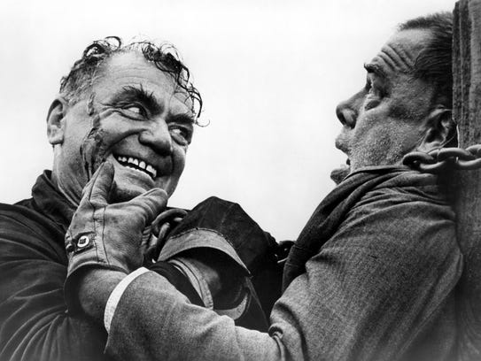 Borgnine plays a sadistic railroad conductor in 'Emperor