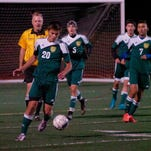 Freshman Liam Percival (20) scored the winning goal for the second straight game Tuesday in Harrison's 1-0 win over host North Farmington.