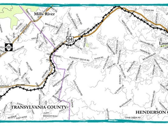 The proposed Ecusta Trail would serve as a walking and biking trail from Hendersonville to Brevard.