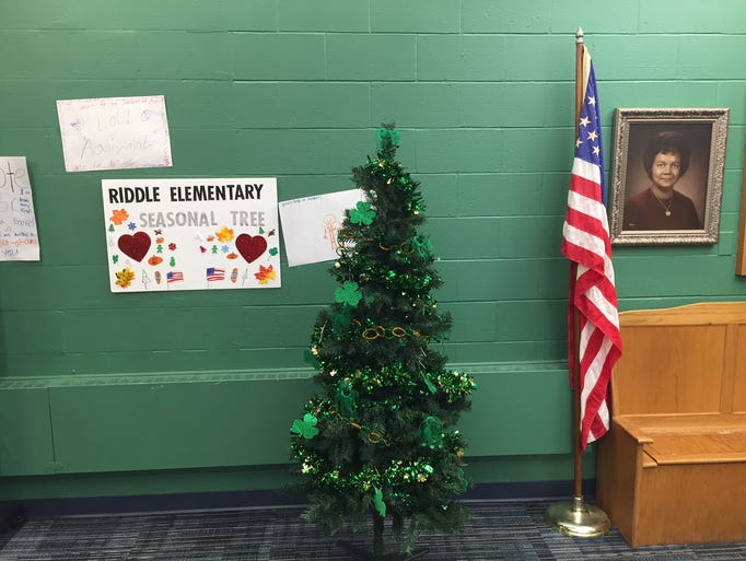 Pictured is the seasonal tree at Riddle Elementary