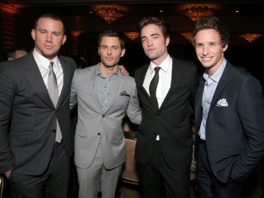 Channing Tatum and from left, James Marsden, Robert Pattinson and Eddie Redmayne attend the Hollywood Foreign Press Association's Grants Banquet at the Beverly Hilton hotel on Thursday, Aug. 14, 2014, in Beverly Hills, Calif.