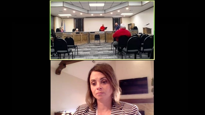 In this screenshot from the Zoom meeting of the Ardmore City commission, former Mayor John Moore presents newly elected Mayor Doug Pfau with a certificate of election at top. Newly elected Vice-Mayor Beth Windel participates in the meeting remotely at bottom.