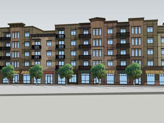 An artist's rendering of Joule Plaza, a mixed-use project