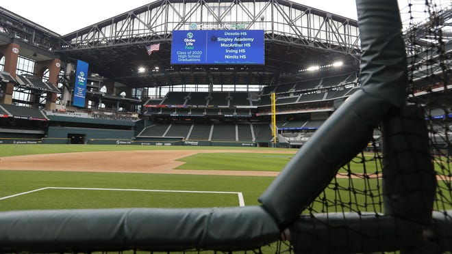 Texas Rangers' Globe Life Field could host major league baseball games with fans for a shortened 2020 season. The league would be inclined to allow local and municipal governance to take precedence when it comes to allowing fan attendance at games, according to sources.