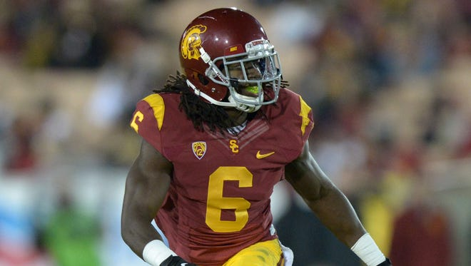 USC cornerback Josh Shaw (6) during the game against the Arizona Wildcats at Los Angeles Memorial Coliseum.