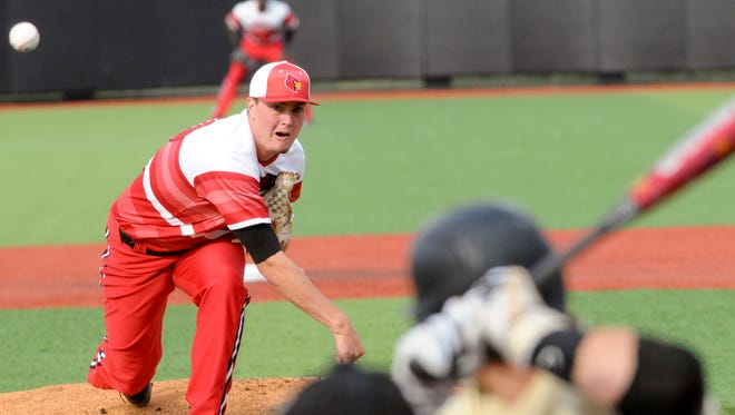 Louisville Cardinals starting pitcher Kade McClure throws in the early innings.12 May 2015