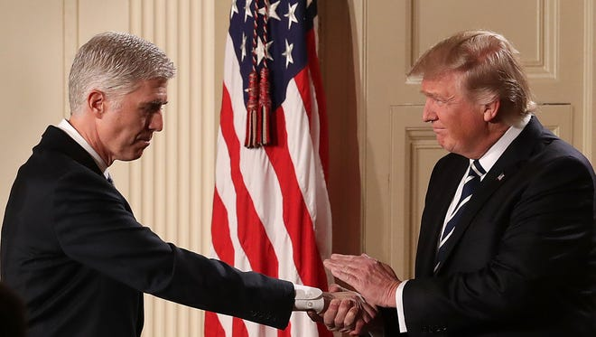 President Trump and Judge Neil Gorsuch at the White House on Jan. 31, 2017.