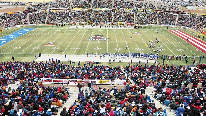 The 2013 state championship game between Las Cruces and Mayfield at Aggie Memorial Stadium.