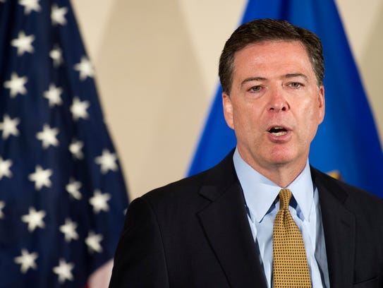 FBI Director James Comey makes a statement at FBI Headquarters