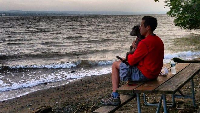Assemblyman Ken Zebrowski and his dog, Ernie, along the Hudson.