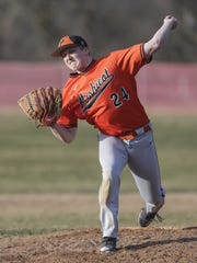 Mishicot's Bryce Henninger (24) throws a pitch against