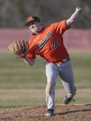 Mishicot's Bryce Henninger (24) throws a pitch against Manitowoc Lutheran on Tuesday at Manitowoc Lutheran.