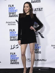Aubrey Plaza poses in the press room at the 34th Film Independent Spirit Awards.