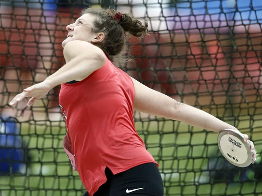Dover's Emily Eckard, competes in the 3A discus, during Day 2 of the District 3 Track and Field Championships at Shippensburg University Saturday May 20, 2017.