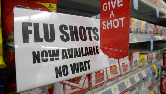 A sign telling customers that they can get a flu shot in a Walgreens store.