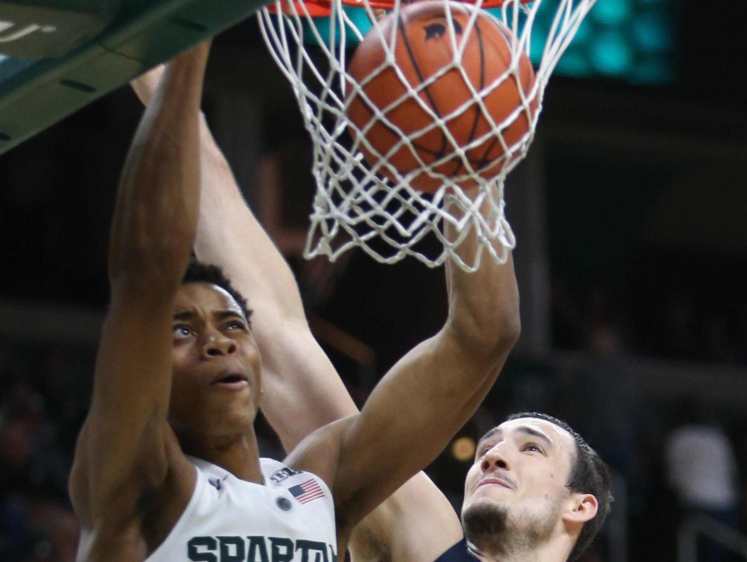 MSU freshman Deyonta Davis dunks versus Illinois last week.