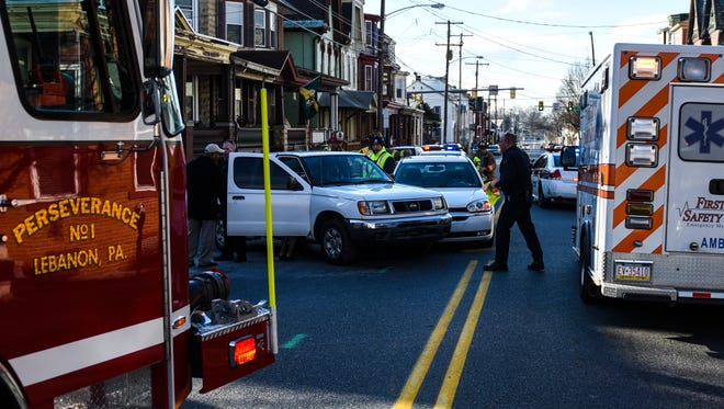 Emergency crews responded to the 900 block of Chestnut Street in the City of Lebanon on Sunday afternoon for a two-vehicle accident on January 3, 2016. Both cars were towed from the scene and two people were transported to an area hospital.