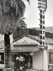Snow falls around the Plaza Theatre in Palm Springs in this undated Desert Sun file photo. Snow falls around the Plaza Theatre in Palm Springs in this undated Desert Sun file photo.