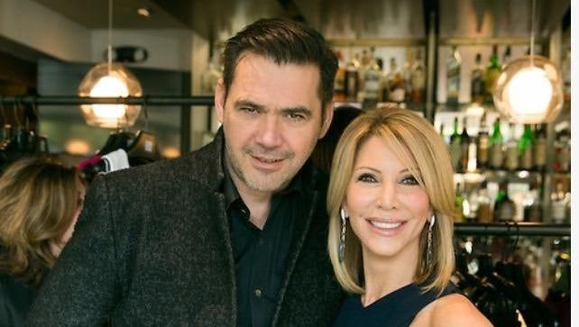 Fashion designer Roland Mouret, left, with philanthropist Stephanie Zekelman.