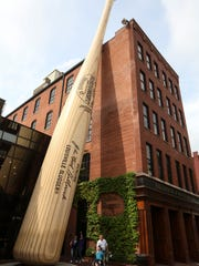Outside of the the Louisville Slugger Museum and Bat Factory on Wednesday where pink bats are currently being manufactured for Mother's Day. April 27, 2016