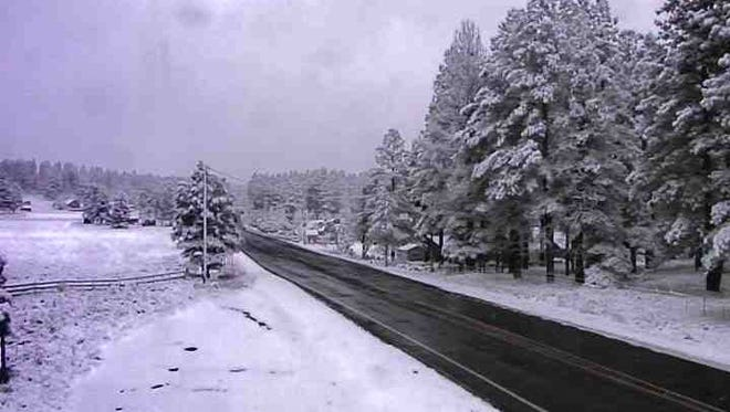 State Route 89 south of Flagstaff on Nov. 4, 2015, after more than 4 inches of snow fell in the area.
