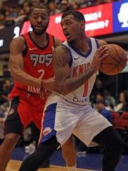 Grand Rapids Raptors Aaron Best (2) guards Westchester
