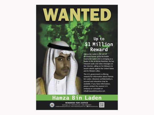 The U.S. has put a $1 million bounty on Hamza bin Laden's head.