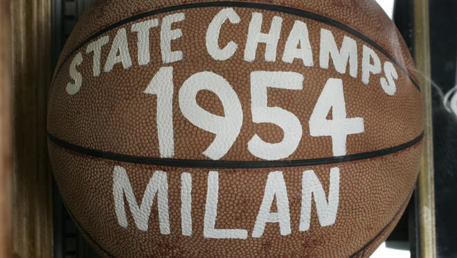 Memorabilia from the 1954 state champion Milan Indians glory days fills the Milan '54 Museum in Milan, Ind.