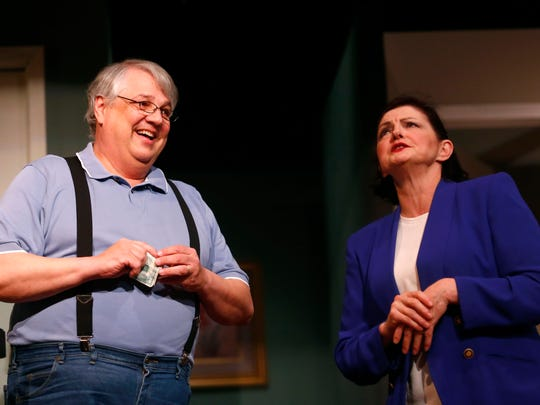 """Michael Schoeppner and Carla Eighinger perform during a dress rehearsal of """"Whose Wives are They Anyway?"""" at the Mansfield Community Playhouse. The show dates for the play are April 8, 9, 15 and 16 at 8:00 p.m., and April 17 at 2:30 p.m."""