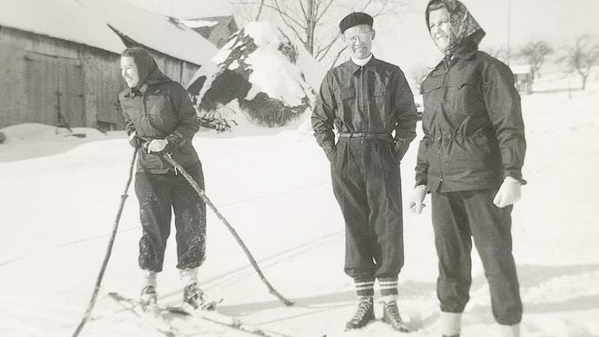 Baroness Maria von Trapp, right, looks forward to a great ski with some friends. Note the poles being used.