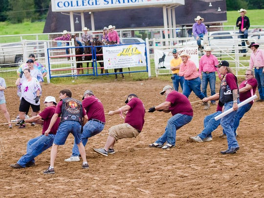 Competitors compete in the Tug of War Contest t the Pink for Peitz Rodeo.