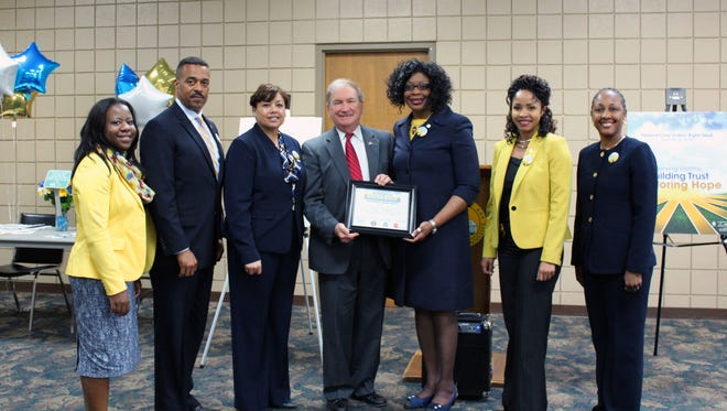 Tamika Dobbins, victim coordinator for the Department of Correction; Gary Faulcon, Tennessee Board of Parole; Pat Merritt, director of community outreach, TRICOR; District Attorney General Ray Whitley, who was honored with the Voice for Victims Award; Tina Fox, board of parole victim services director; Illana Tate, executive officer, Tennessee Bureau of Investigation; and Cathy Blakely, TBI victim coordinator.