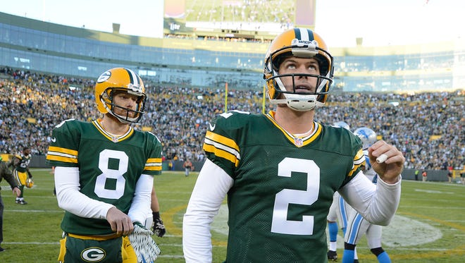 Green Bay Packers kicker Mason Crosby reacts as he watches the replay of his missed field goal attempt against the Detroit Lions at Lambeau Field. The Lions defeated the Packers 18-16