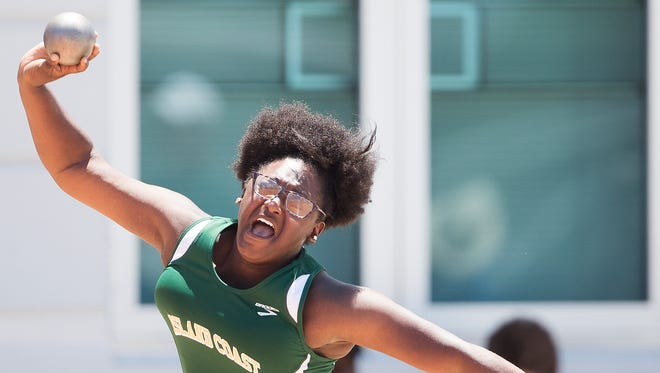 Island Coast High School's Precious Tillman won the girls shot put event recently at the District 3A-11 track and field meet at Ida Baker High School in Cape Coral. Local athletes from from Riverdale, Ida Baker, Cape Coral, Cypress Lake, Lehigh, Island Coast, Mariner, North Fort Myers, Fort Myers and South Fort Myers competed in the meet. Many athletes advanced to next week's regional meet in Port Charlotte. Go to news-press.com to see more moments from the meet.