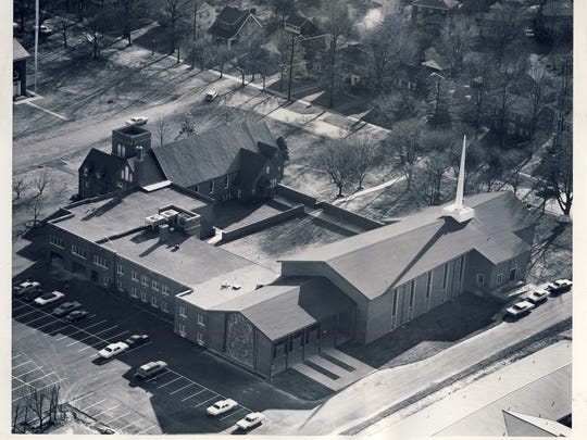 """An aerial photo in 1966 shows a """"gleaming steeple"""" atop the new sanctuary at Harvey Browne Memorial Presbyterian Church, 311 Browns Lane, in St. Matthews. But it had to be removed in the mid-1990s because of roof leaks."""