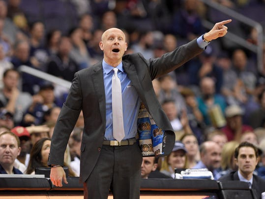 Xavier head coach Chris Mack points during the second half of an NCAA college basketball game against Georgetown, Wednesday, Feb. 21, 2018, in Washington. Xavier won 89-77. (AP Photo/Nick Wass)