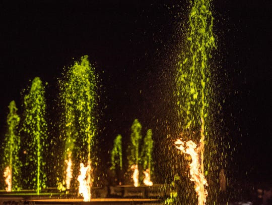 The fire in Longwood Garden's flaming sprays of water