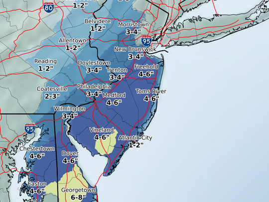 The expected snowfall ranges through Saturday night.
