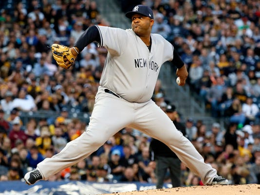 New York Yankees starting pitcher CC Sabathia delivers during the first inning of a baseball game against the Pittsburgh Pirates in Pittsburgh, Friday, April 21, 2017. (AP Photo/Gene J. Puskar)