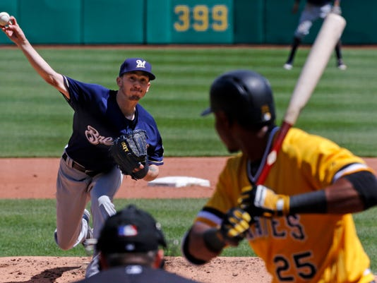 Milwaukee Brewers starting pitcher Zach Davies, top left delivers in the fourth inning of a baseball game against the Pittsburgh Pirates in Pittsburgh, Sunday, May 7, 2017. (AP Photo/Gene J. Puskar)