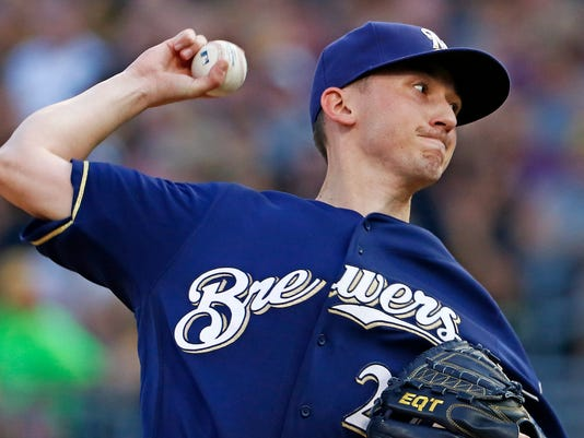 Milwaukee Brewers starting pitcher Zach Davies delivers during the first inning of the team's baseball game against the Pittsburgh Pirates in Pittsburgh, Wednesday, July 19, 2017. (AP Photo/Gene J. Puskar)