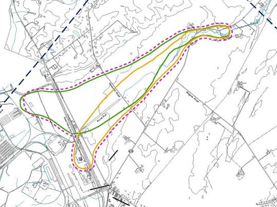 This map shows the extend of the movement of groundwater from Letterkenny Army Depot northeast along Rowe Run, between Pa. 997 and Pa. 433.