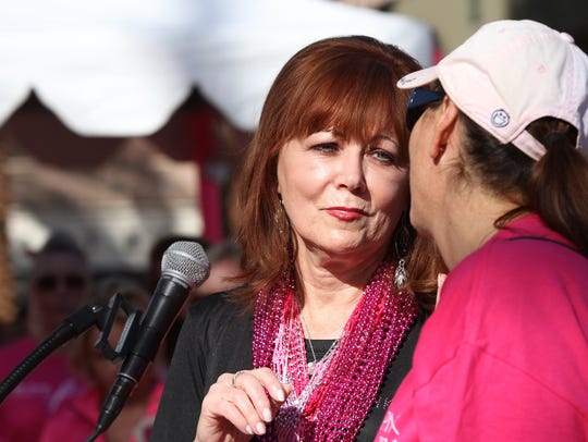 Pattie Daly Caruso speaks at the Desert Cancer Foundation's