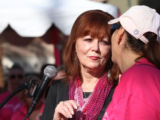 Pattie Daly Caruso speaks at the Desert Cancer Foundation's annual Paint El Paseo Pink event along El Paseo in Palm Desert on Saturday morning, October 11, 2014.