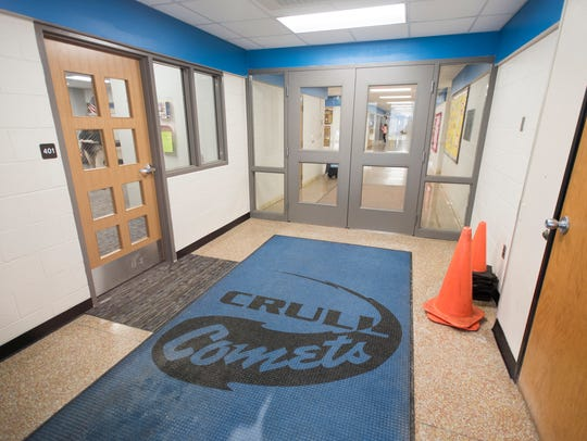 The secured entryway at Crull Elementary School. One